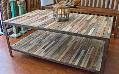 Factory Style Reclaimed And Salvaged Fishing Boat Wood Coffee Table With Bottom Shelf Rectangular