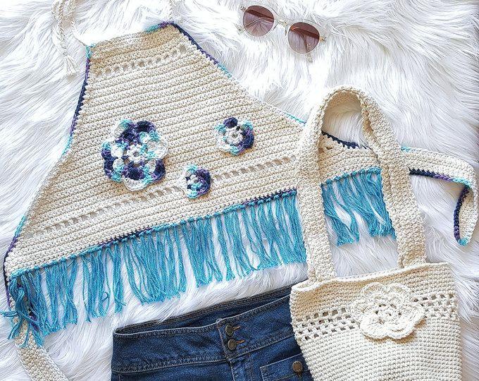 Crochet verano, Top Festival, la tapa del Halter de Boho, playa ...