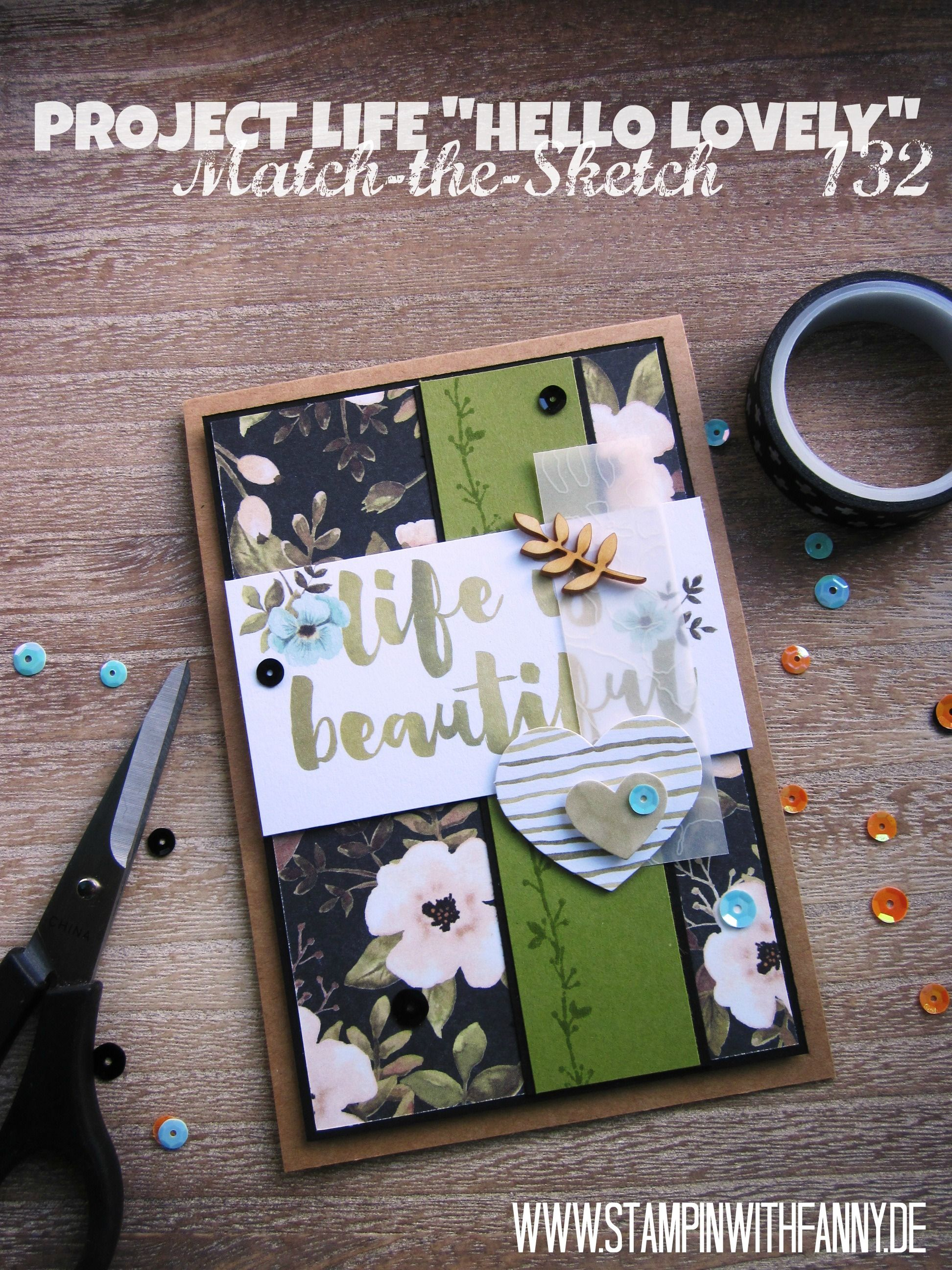 stampin up stampinwithfanny project life card hallo sonnenschein hello lovely matchthesketch life is beautiful #stampinwithfanny