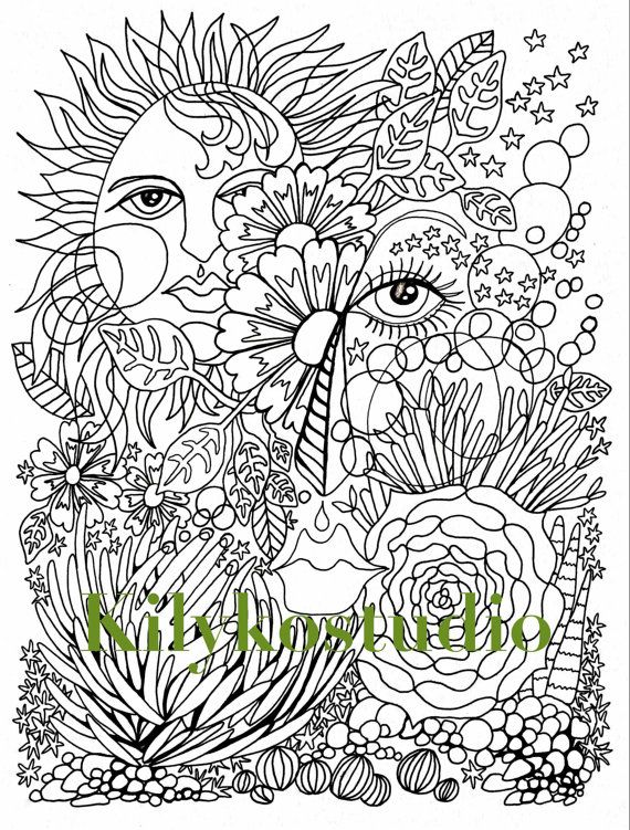 Abstract desert face adult coloring page instant by ...