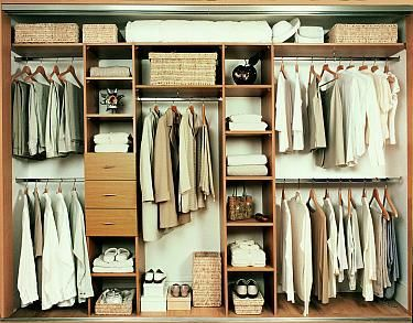 Wardrobe ideas but with doors or something to hide it all away ...