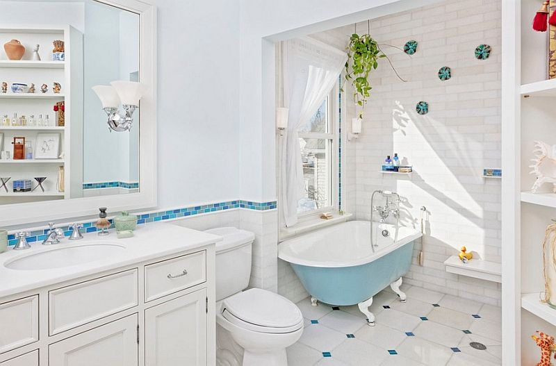 Blue And White Bathroom relaxing and stylish bathroom in blue and white with a colorful