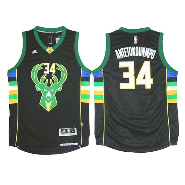 10904cf2d Giannis Antetokounmpo jersey is the 2016 Milwaukee Bucks  34 Away Black  Basketball Jersey. The name and numbers are stitched.