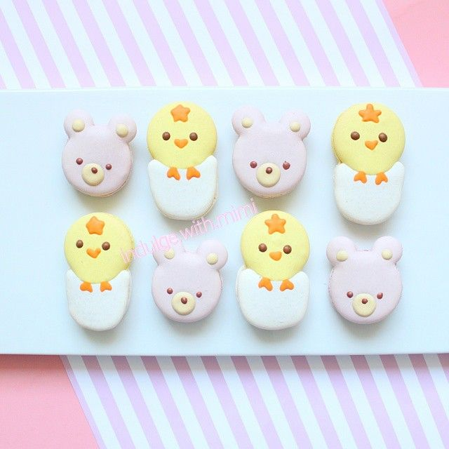 Cute Macaron Art - bears and chicks Tutorials and templates on - macaron template