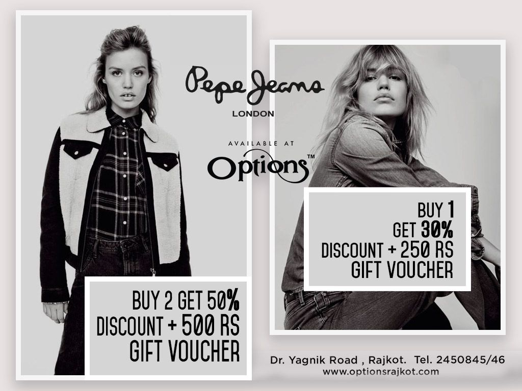 d49ac0bcfd6 Pepe Jeans London   Women s Western Wear available at Options. Buy 1   Get  25% Discount + 250 RS Gift Voucher. Buy 2   Get 50% Discount + 500 RS Gift  ...