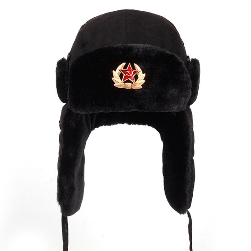 Soviet Army Military Badge Russia Ushanka Bomber Hats Pilot Trapper Aviator Cap  Winter Faux Rabbit Fur 0d2bb493a72c