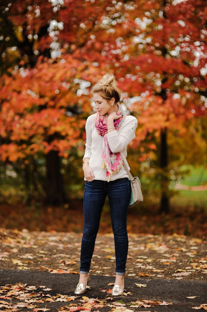 Outfit Breakdown:  Sweater: Gap (Save. Spend. Splurge.)  Scarf: c/o Pine Cone Hill (Same.)  Jeans: Gap (Save.Spend.Splurge.)  Shoes: Material Girl via Macy's (Same. Save. Spend. Splurge.)  Purse: c/o Handbag Heaven (Same.)