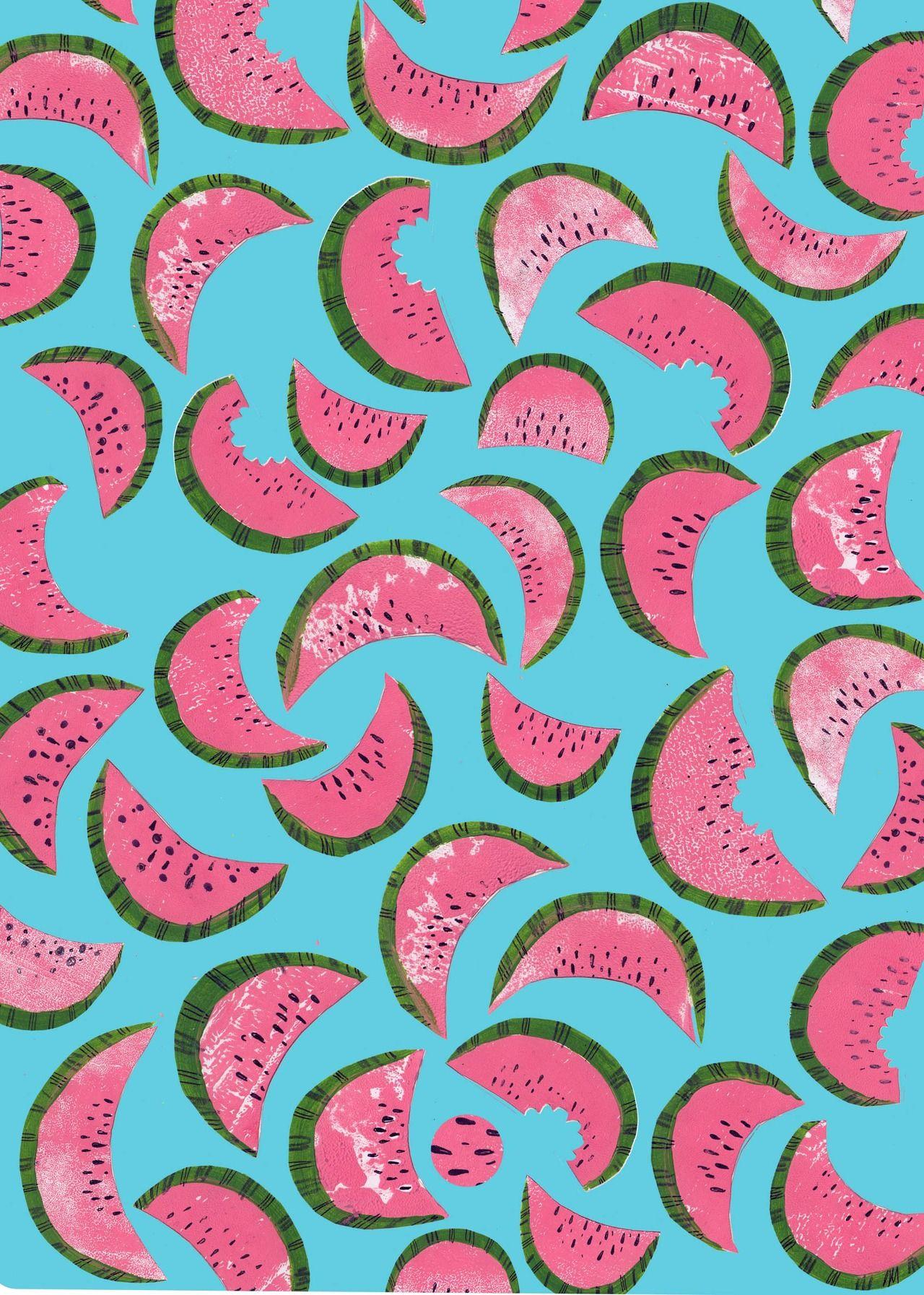 Watermelon Blue Background