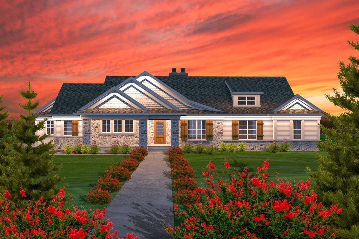 Plan 89888AH: Ranch With Swooping Roof and Shed Dormer ... on remodel attic with dormer, ranch house with bay window, ranch house with basement, ranch house with flat roof, shed roof dormer, ranch house with eyebrow, ranch style home with double dormer,