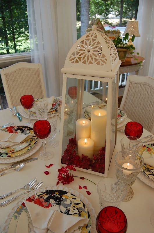 Valentines Day Dinner Table Centerpieces Romantic Candlelight Table Setting | Between Naps on the Porch