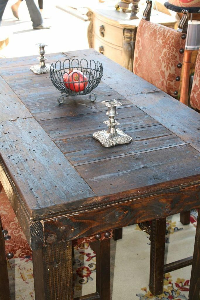 Rustic Old World Dining Table Flea Pop Fantastic Medium Sized