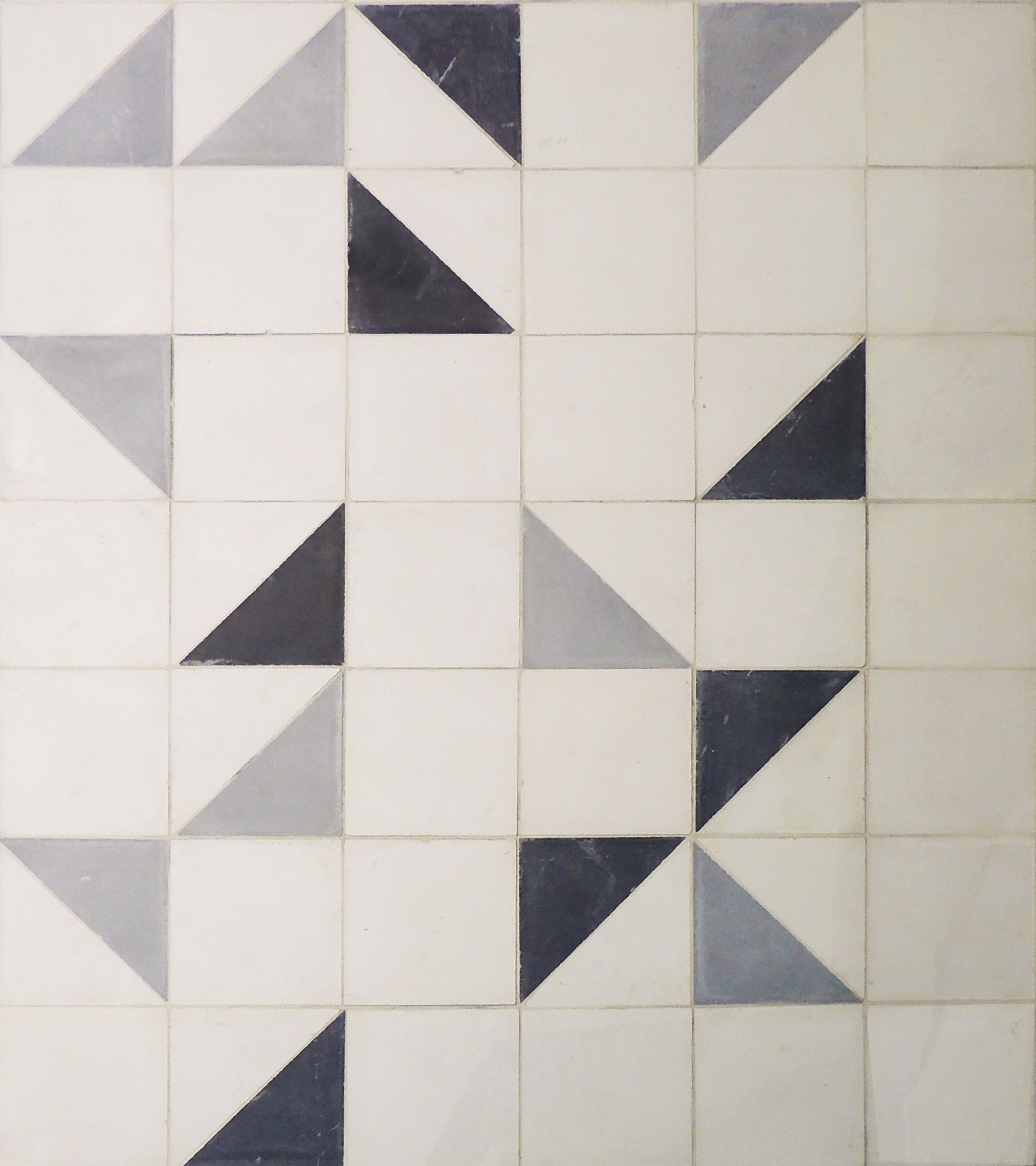 Geometric Floor Strada Cement Tiles In Black Oxford White