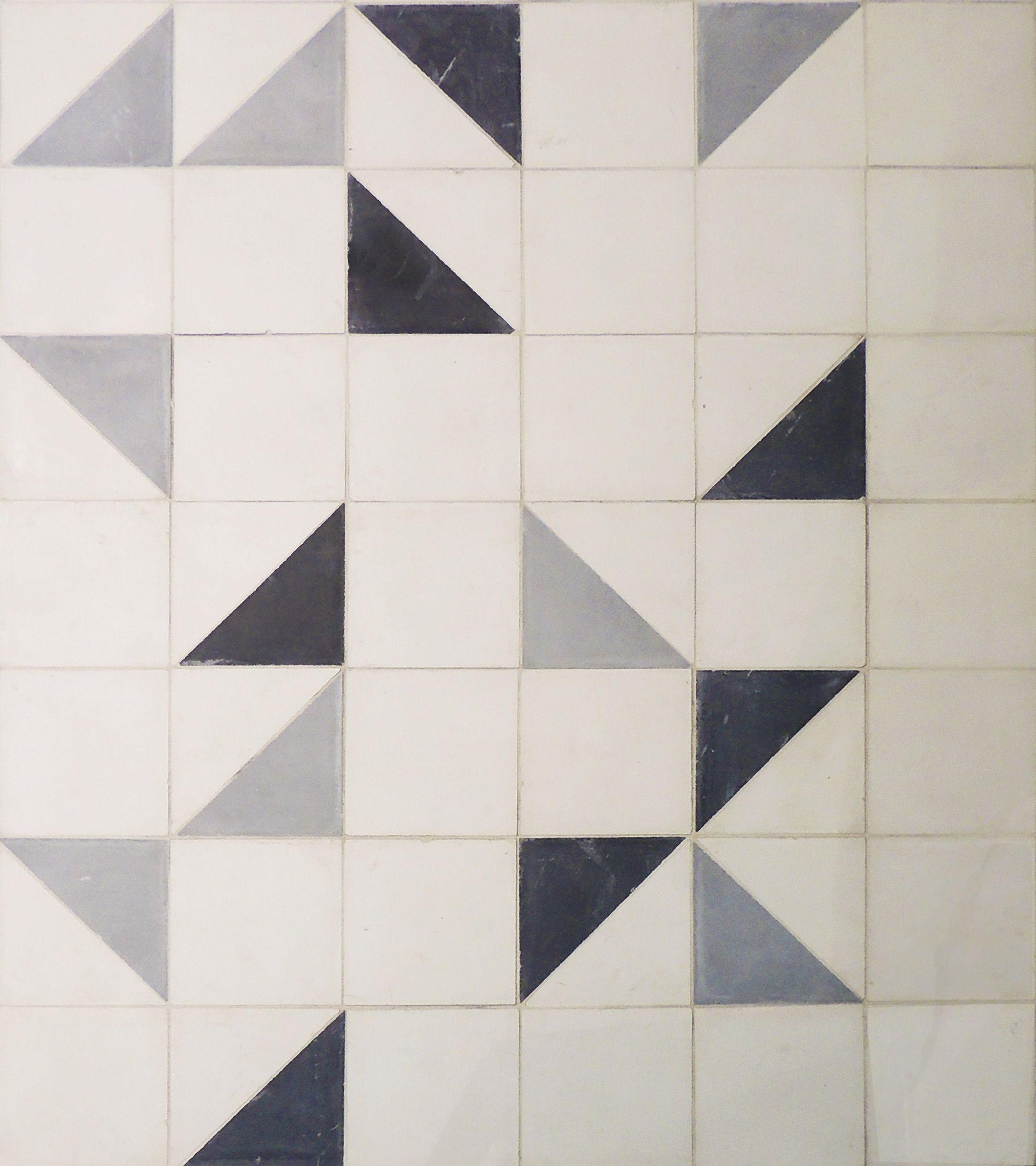 Geometric Floor Strada Cement Tiles In Black Oxford White