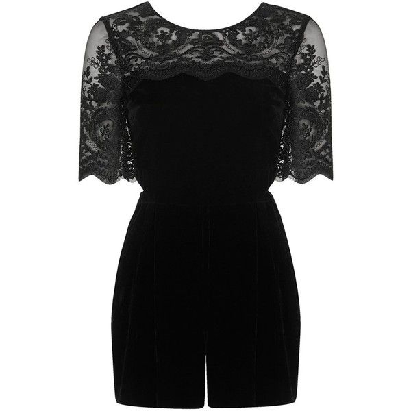Women's Topshop Velvet Lace Romper ($66) found on Polyvore featuring jumpsuits, rompers, playsuits, playsuit romper, black velvet romper, lace romper, cut out romper and velvet romper