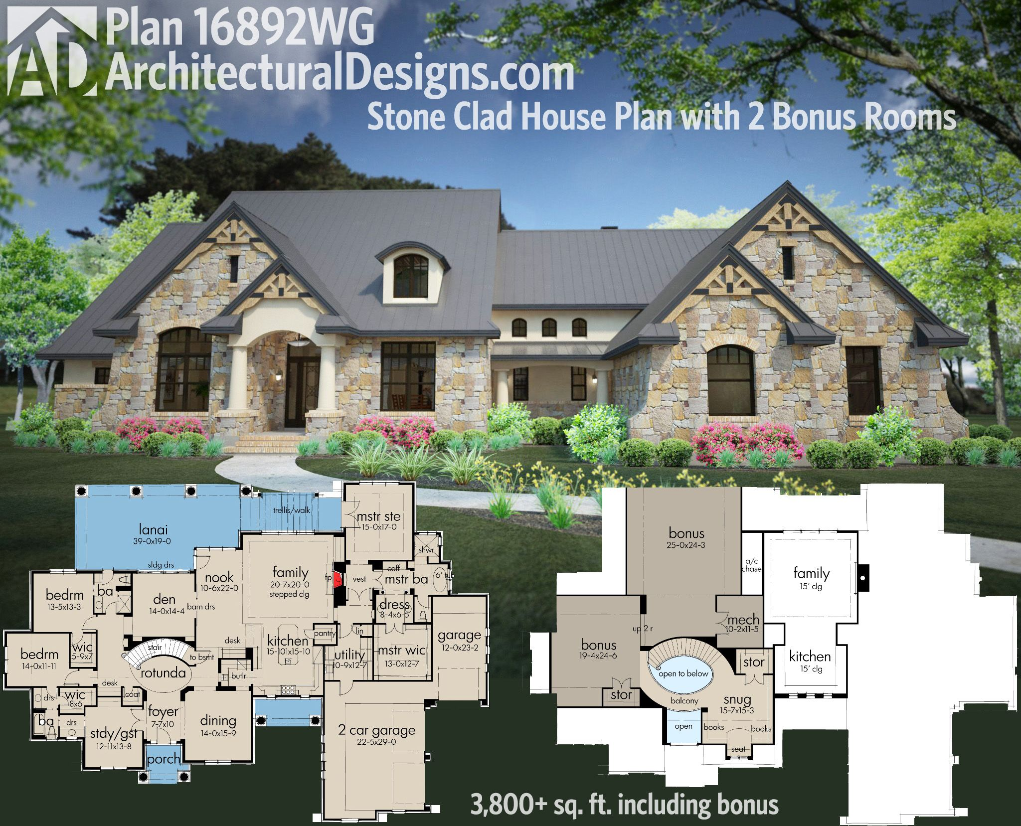 Plan 16892wg stone clad house plan with 2 bonus rooms 3 for House plans with bonus room