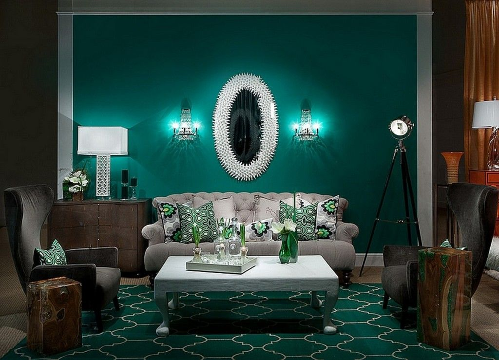 Living Room Rich Emerald Green Wall And Patterned Area Rug Combined With Silver Emerald Green Living Room Teal Living Rooms Living Room Colors