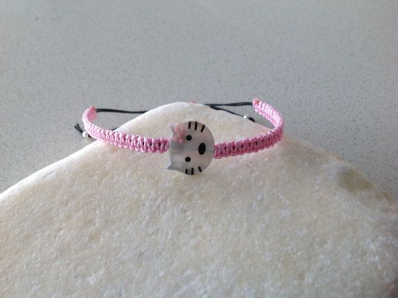 Hello kitty cat charm mother of pearl Pink  macrame bracelet on Etsy, £9.00