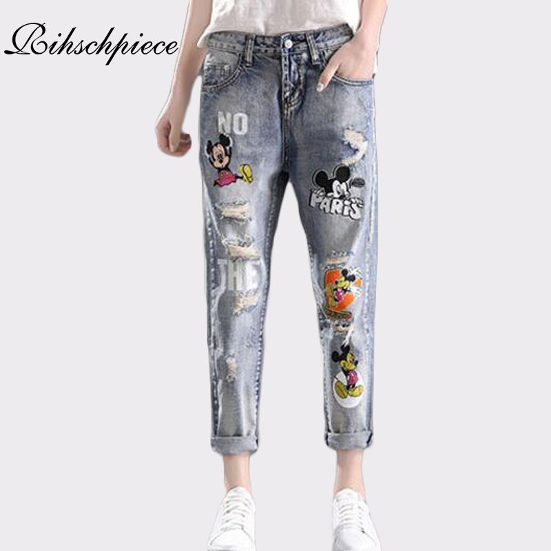 1add4ccb69e60 Rihschpiece Boyfriend Ripped Jeans Woman Mickey Mouse High Waist ...