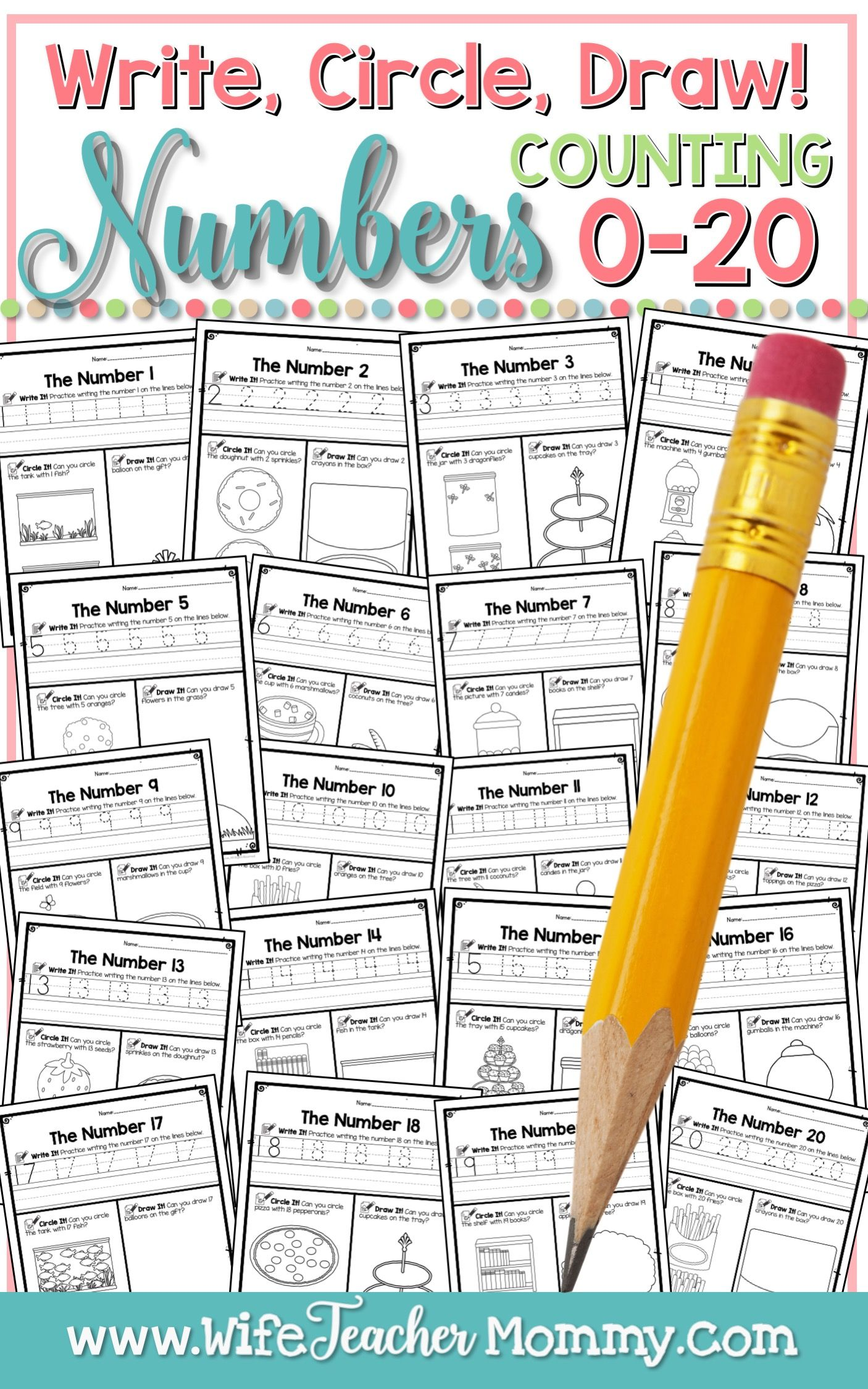 Number Worksheets 0 20 Counting Worksheets Write Circle