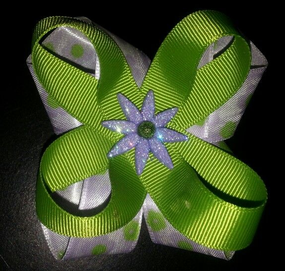 Lime and lilac hairbow