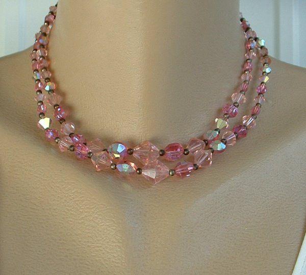 Pink Beaded Necklace Pink Glitter Choker