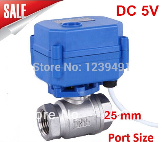 """44.62$  Buy now - http://ali5us.worldwells.pw/go.php?t=1946368487 - """"Motorized Ball Valve 1""""""""  DN25 DC5V ,CR03 Wire 2 way Stainless Steel 304 Electric Ball Valve"""" 44.62$"""