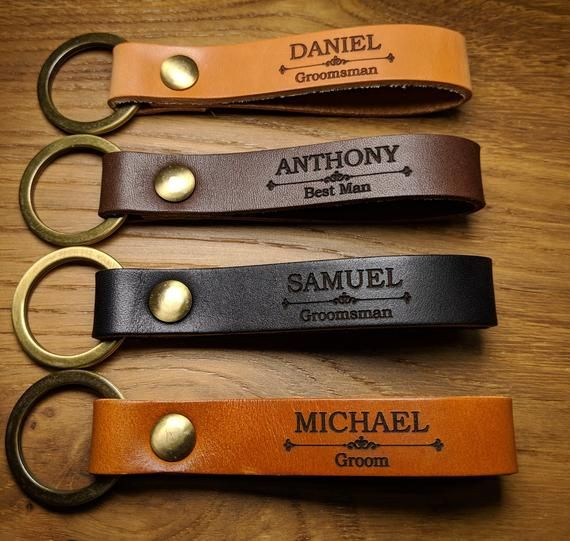 Groomsmen Gift Personalized Leather Keychain, Messages, Names, Symbols. Groomsman Key Chain. Father of bride gift, Personalized Gift.