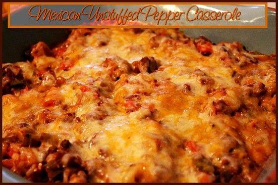 Mexican Unstuffed Pepper Casserole http://www.momspantrykitchen.com/mexican-unstuffed-pepper-casserole.html