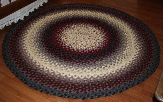 Handmade All Wool Braided Rug 6 X 6 Round In Braided Wool Rug Round Braided Rug Braided Rag Rugs