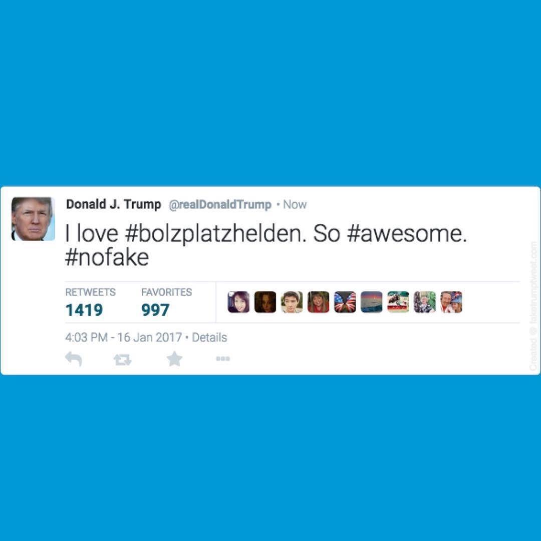 Hat uns heute erreicht vielen Dank Donald!  #trump #bolzplatzhelden #faketrumptweet