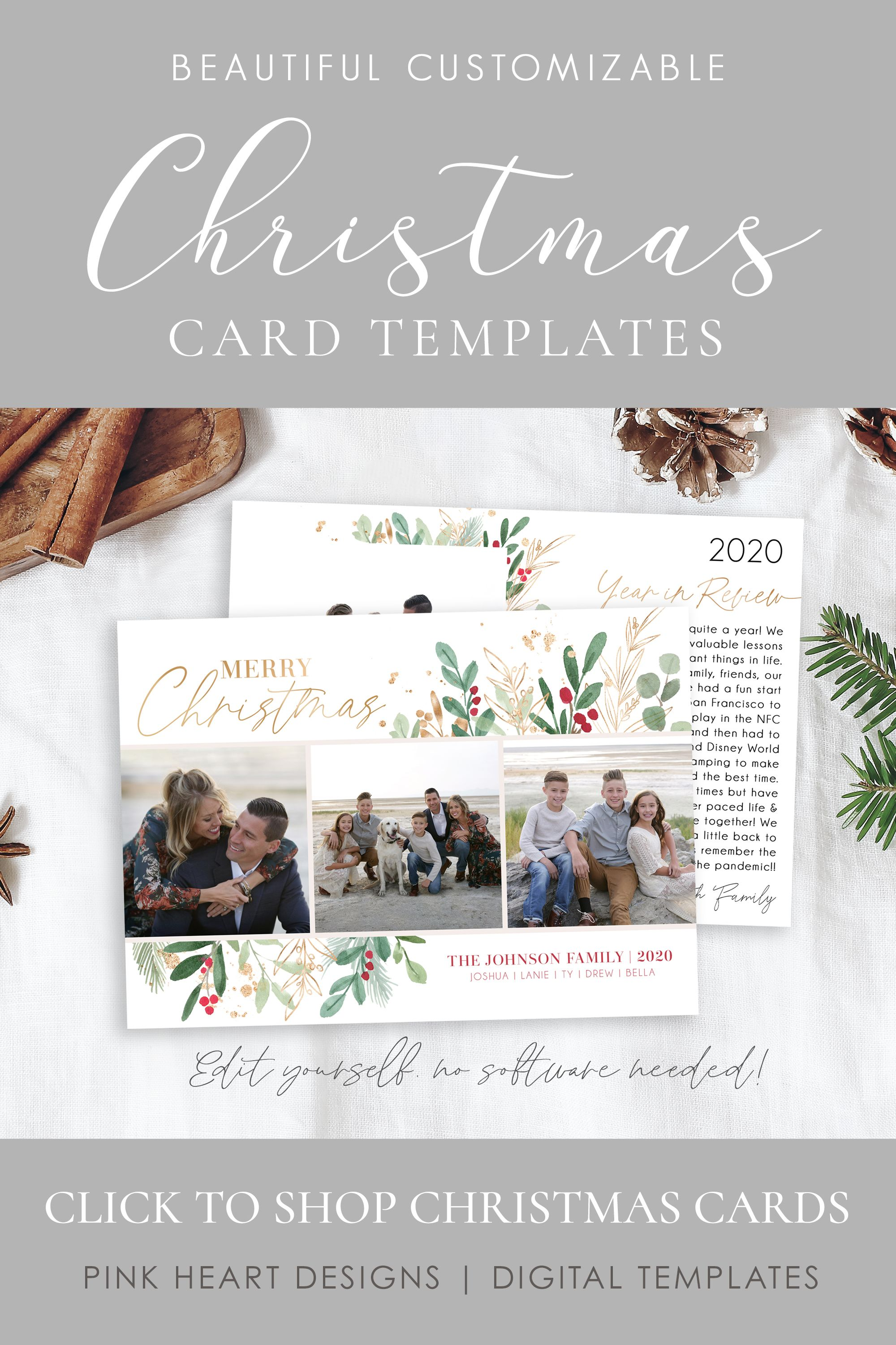 Year In Review Card Template Christmas Cards Template 5x7 Etsy Holiday Card Template Christmas Card Template Printable Holiday Card