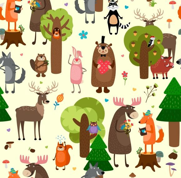 Happy forest animals pattern by Microvector on Creative Market