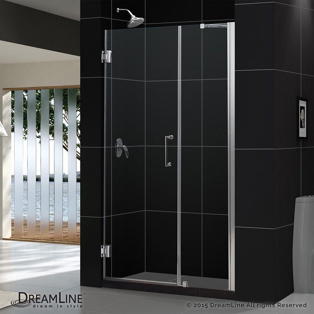 Unidoor 41 To 42 Inch X 72 Inch Frameless Hinged Pivot Shower Door