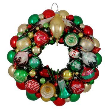 Check out this item at One Kings Lane! Red, Green & Gold Ornament Wreath