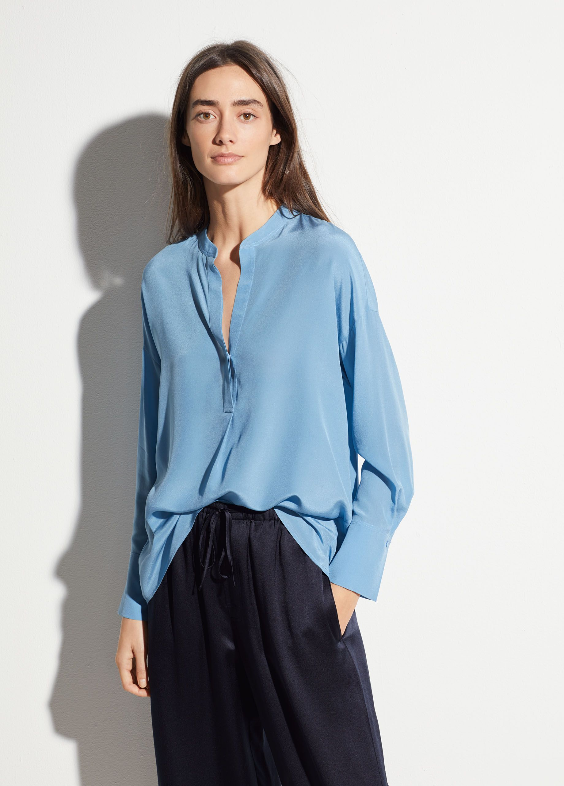 23d98b5528f89e Band Collar Silk Blouse in 2019 | office 3 | Blouse, Blouses for ...