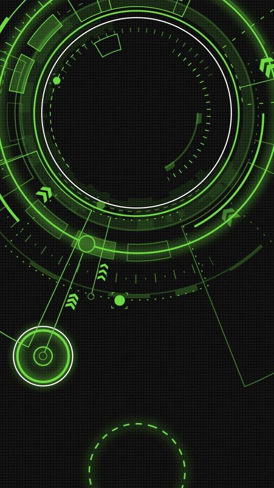Green Circles Tech Arrows Black Wallpaper Background Smartphone