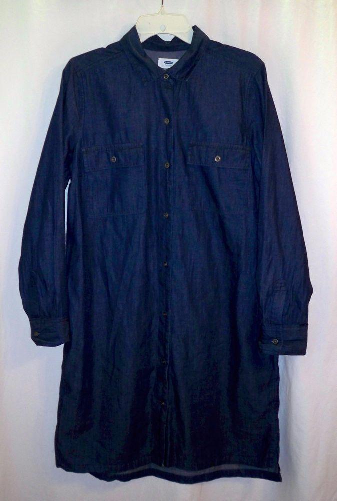 a55d75fff44 Old Navy Light Weight Blue Chambray Denim Button Front Long Sleeve Shirt  Dress M  OldNavy  ShirtDress  Casual