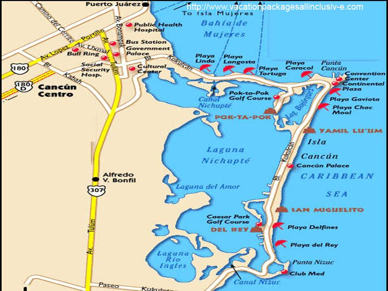 Cancun Bus Map on
