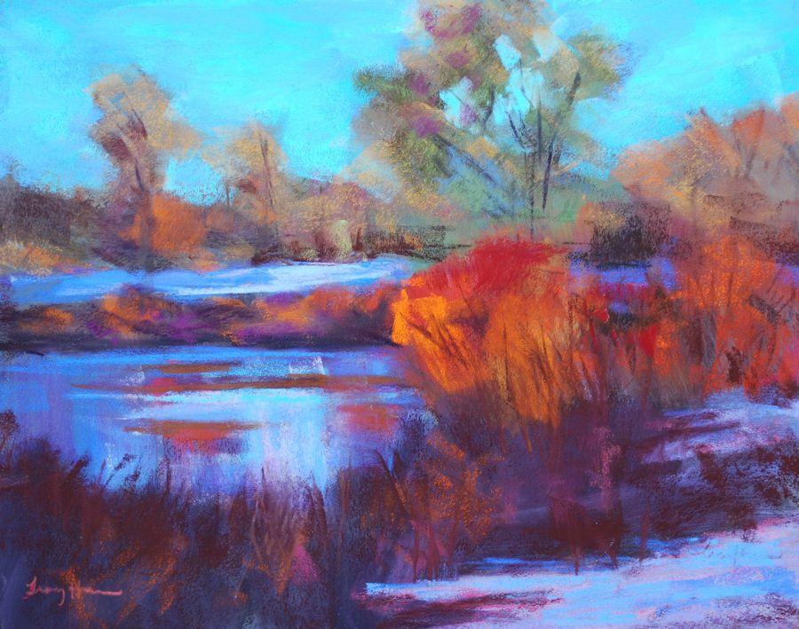 Cool Eve Along The Platte Colorful Landscape Paintings Oil And Pastel Colorado Landscapes Colorful Landscape Paintings Oil Painting Landscape Oil Pastel Landscape