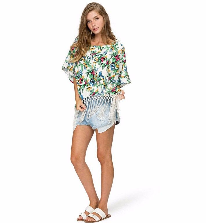 a6125c360bd Women Tropical Floral Print Chiffon Blouse Summer Style Ladies Batwing  Sleeve Tassel Casual Shirts Plus Size Blusa Feminina