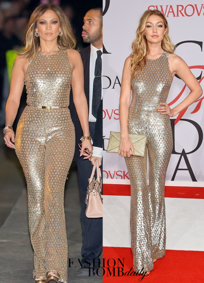 cb3e088987b19 Gigi Hadid in Michael Kors Collection's Sequined Mesh Bell Bottom Jumpsuit  appeared first on Fashion Bomb Daily Style Magazine: Celebrity Fashion,  Fashi