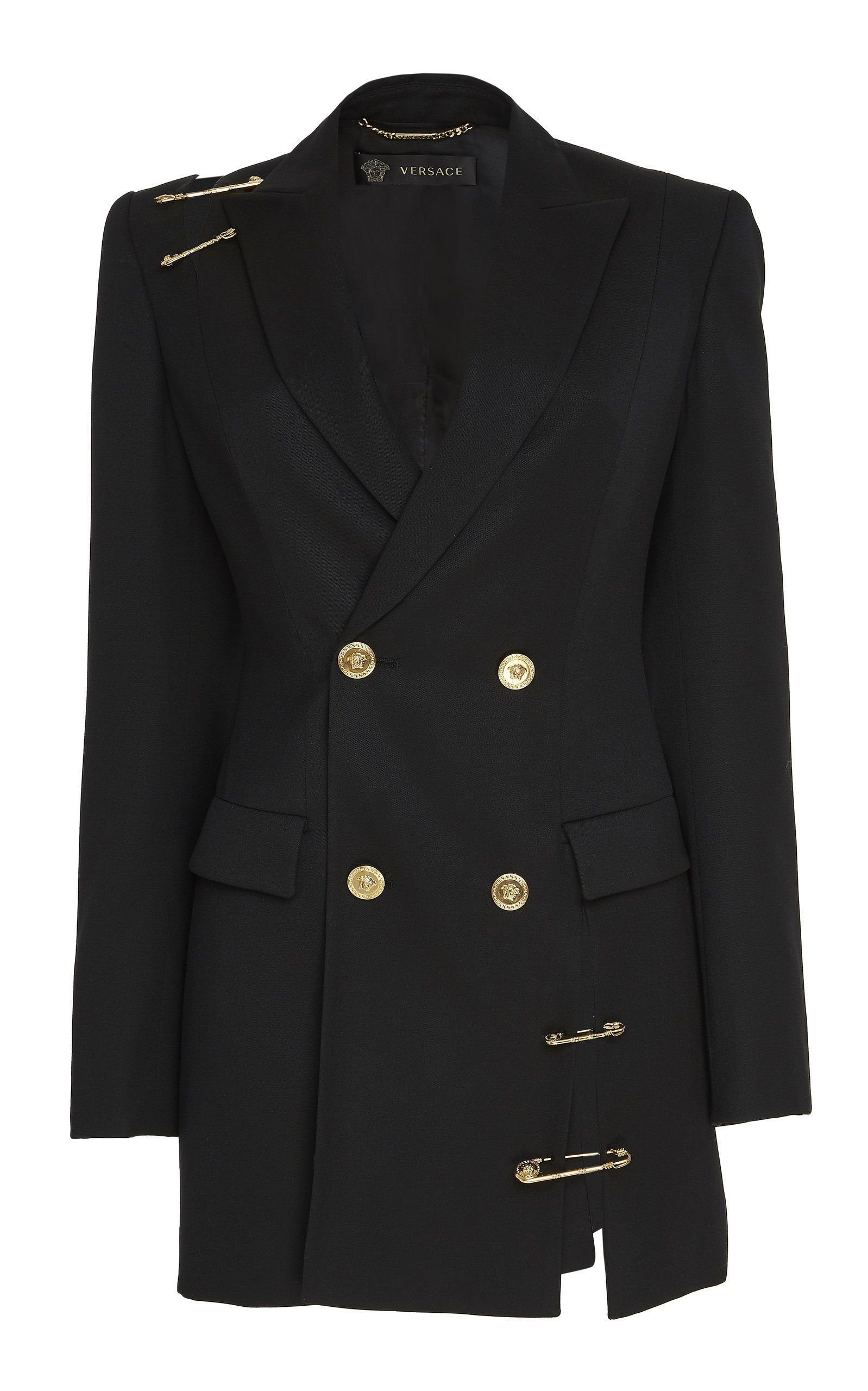 186082bb Oversized Wool Cut Out Blazer by VERSACE for Preorder on Moda Operandi