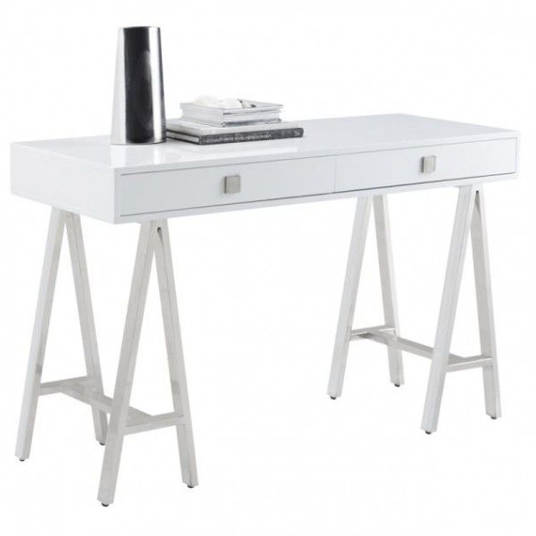 """Embassy    High gloss with lacquer with polished stainless steel trestle legs.    47.5L x 18W x 30H""""    $840.00"""