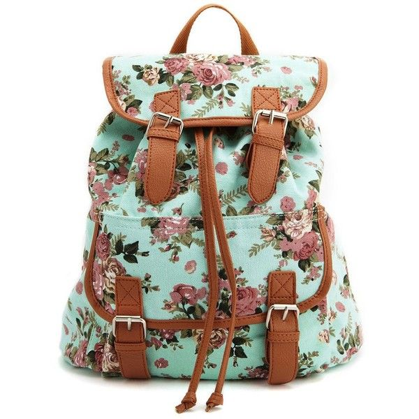 95b70a923 Floral Canvas Backpack ($27) ❤ liked on Polyvore featuring bags, backpacks,  accessories, purses, bolsas, pale mint combo, mint green floral backpack,  ...