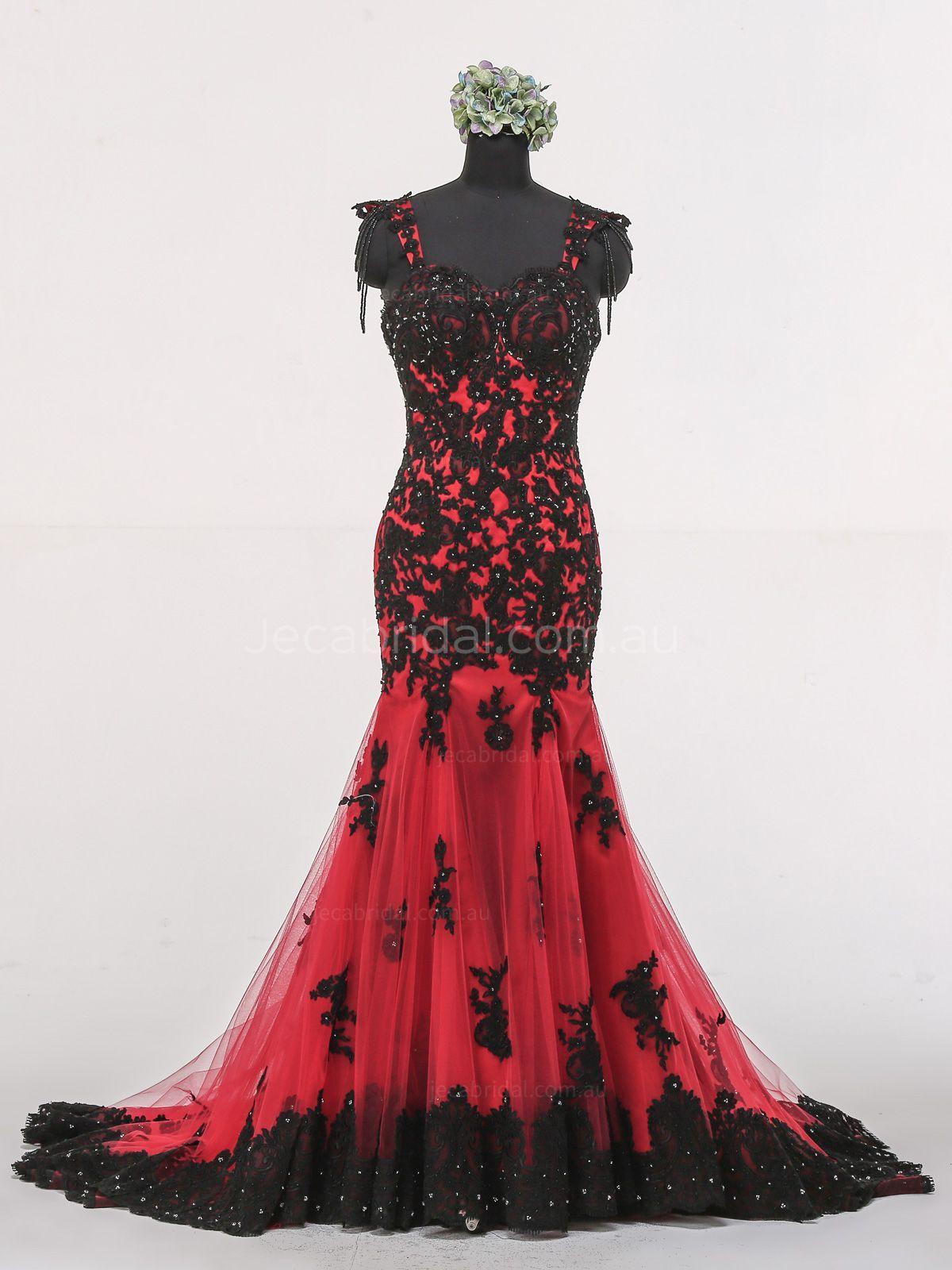 Red and black wedding dress  Mermaid Cap Sleeves Gothic Wedding Dress W  UhOh  Pinterest