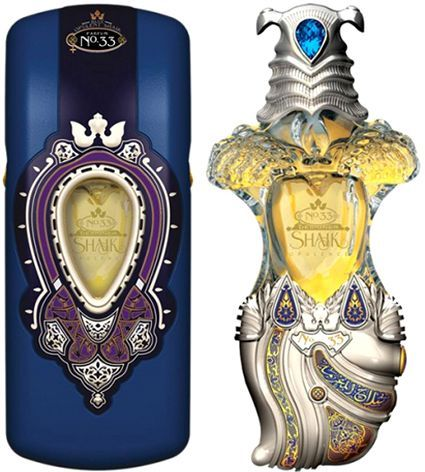 Opulent Shaik Classic No 33 for women. The bottle of the women's fragrance (40ml (1.39 fl.oz.)) is designed in a shape of traditional short double bladed dagger called khunja, and is reminiscent of seductive curves of a woman's body. The composition is created of spices as well, with woodsy, musk, and wild flower notes.