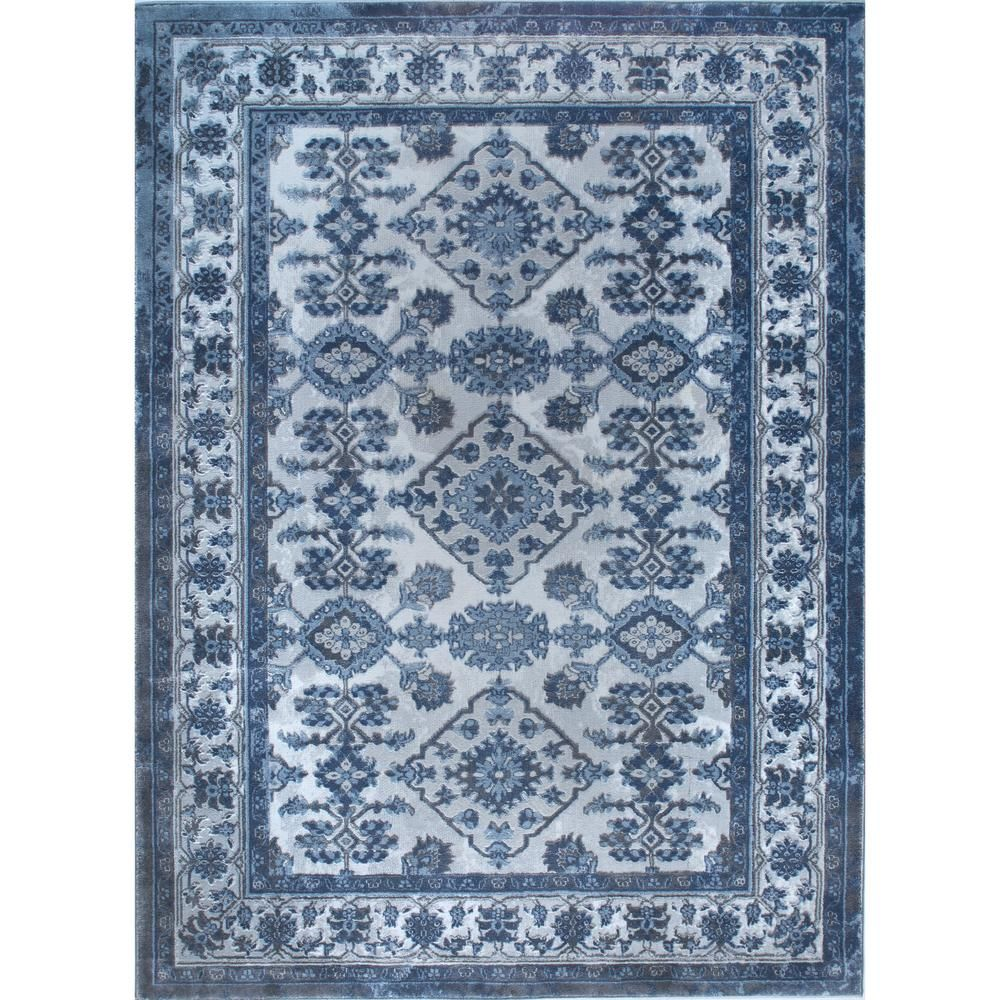 Bazaar Elegance Gray Blue 8 Ft X 10 Indoor Area Rug 1
