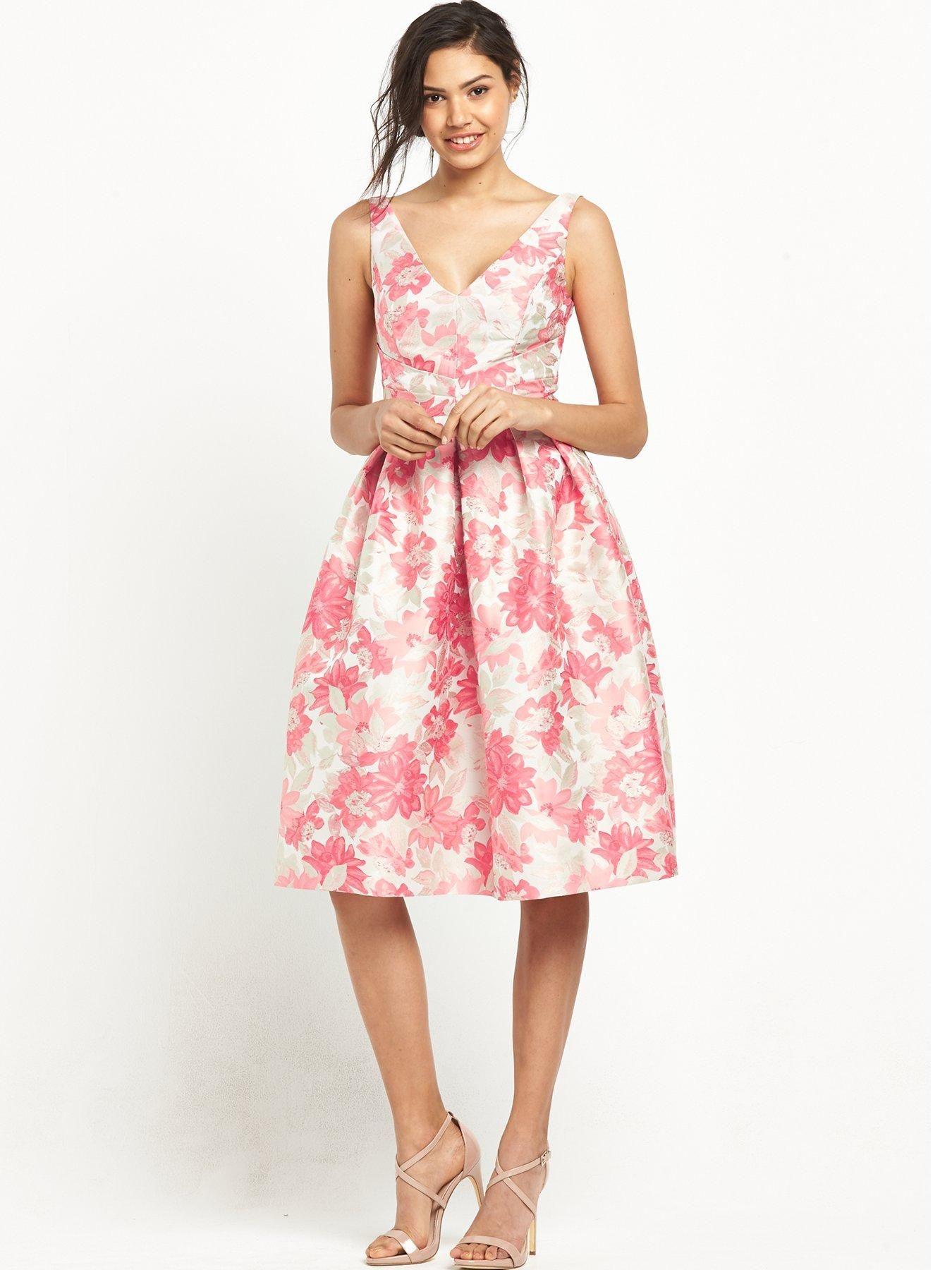 Miss Selfridge Jacquard Midi Prom Dress   Rose gold accessories ...