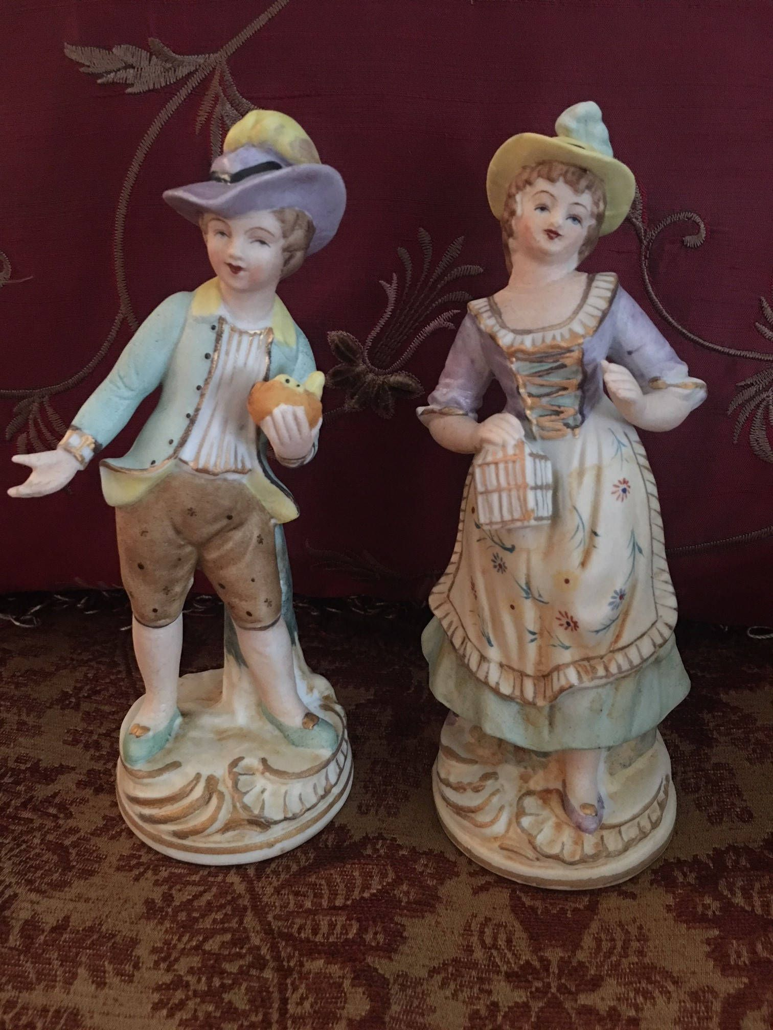 Marked Pair of Antique Vintage Victorian Bisque Porcelain Figures