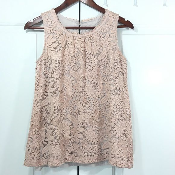 fefa42837256ab Pink Lace Sleeveless Top by Loft Beautiful blush pink lace sleeveless top  by Loft. Size small. Exterior 89.4% nylon 10.6% polyester.